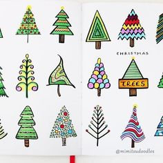 18 ways to draw a Christmas tree . . . . #bulletjournal #planner #bujo #showmeyourplanner #doodle