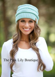 Light Mint Knit Beanie!!