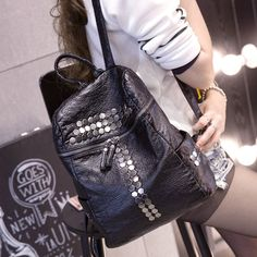 Cheap backpack laptop bag, Buy Quality backpack book bag directly from  China bag toilet Suppliers  2017 new fashion rivet PU leather backpacks bags  women ... 690eda680e