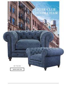 Denim chair in cigar club style