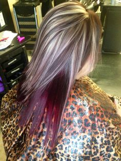 Blonde and brown highlight lowlight. Red violet underneath