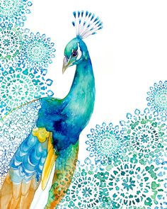 ART PRINT / Peacock, bird art, exotic bird, peacock decor, peacock nursery Peacock Art / PRINT / Turquoise and blue by BellaAndBunny on Etsy Watercolor Peacock, Peacock Art, Watercolor Paintings, Peacock Nursery, Peacock Decor, Peacock Painting, Watercolors, Tree Watercolour, Peacock Drawing