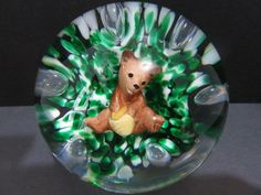 Vintage Gibson Sulphide Art Glass Paperweight Honey Bear with Hands Beehive 1991 #Gibson