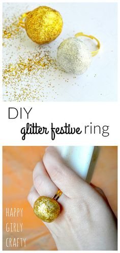 happy girly crafty: DIY glitter festive rings!