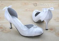 Satin Upper Stiletto Heel Pumps With Bowknot Wedding Shoes leopard ,hot ,Lady ,spell ,