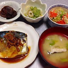 鯖の味噌煮、 白菜とニンジンの白和え、 きゅうりとモヤシと春雨と竹輪の酢の物、 奈良漬け です。 - 19件のもぐもぐ - 和食の晩ご飯 by orieueki