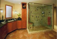Large master bathroom with modern fixtures