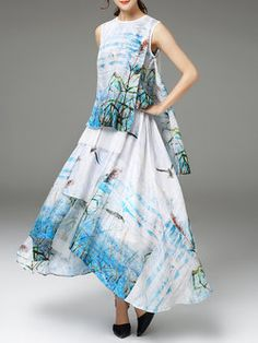Crew Neck Printed Sleeveless Casual Maxi Dress