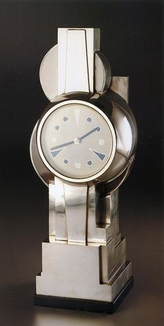 Jean Goulden silvered bronze clock, 1929