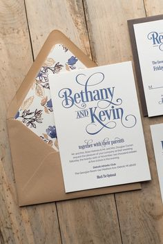 BETHANY Suite Rustic Package, wood grain, blue, kraft, navy, letterpress, twine, wedding invitation