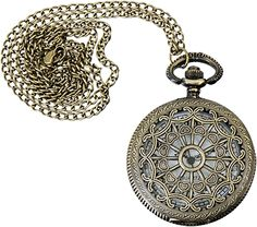 Pocket Watch, Round Filigree, 45mm. Beautiful locket or reliquary in antique brass from www.rings-things.com