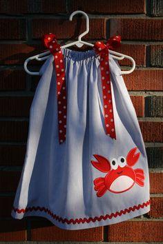 Baby Girl's Crab Pillow Case Dress Size 024 by RufflesAndRascals, $30.00