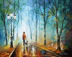 "Original Recreation Oil Painting on Canvas This is the best possible quality of recreation made by Leonid Afremov in person.  Title: Rainy Fog Size: 30"" x 24"" (75cm x 60cm) Condition: Excellent Brand new Gallery Estimated Value: $6,500 Type: Original Recreation Oil Painting on Canvas by Pa..."
