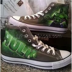 the Hulk custom hand painted shoes the Hulk shoes Cool Converse, Converse Boots, Painted Converse, Painted Canvas Shoes, Hand Painted Shoes, Custom Sneakers, Custom Shoes, Make Your Own Converse, Hulk