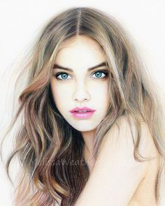 colored pencil portrait of Barbara Palvin by Melissa Weatherholtz @quibcollection