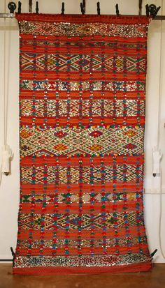 Vintage Moroccan sequined carpet 2546