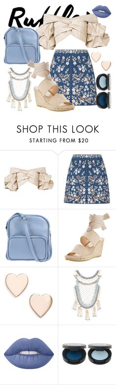 """""""blue and gold"""" by dead-fishies ❤ liked on Polyvore featuring Johanna Ortiz, Needle & Thread, Jil Sander Navy, Bettye Muller, Poppy Finch, Deepa Gurnani and Lime Crime"""