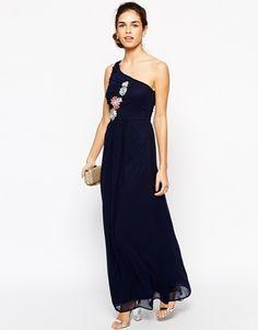 Elise Ryan Pleated One Shoulder Maxi Dress With Crochet Applique Trim