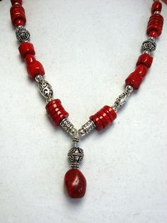 Red Coral and Pewter Necklace Red Coral and Silver by irideae