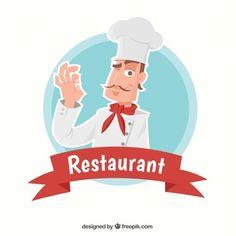 Fondo de restaurante con magnífico chef