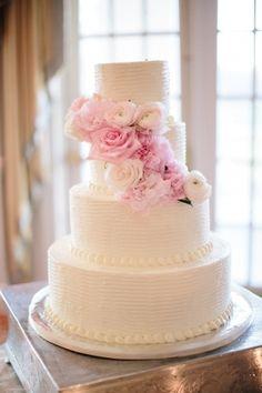 Wedding Cake #White #Pink #Peonies #Wedding