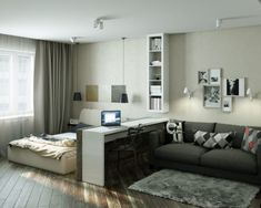 trendy ideas for bedroom interior decorating small rooms trendy ideas for bedroom interior decorating small rooms apartments 4 Small Apartments Showcase The Flexibility Of Compact Design Блог о Дизайне Интерьера ( Small Bedroom Interior, Small Apartment Bedrooms, Condo Interior, Small Apartment Design, Apartment Bedroom Decor, Small Room Design, Bedroom Small, Bedroom Ideas, One Room Apartment