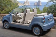 Fiat has created the Fiat Jolly Panda. The FJP was first launched over summer where it was used to ferry VIP's on the island of Capri.    With the interiors created by Italian design co. Paolo Lenti who specialize in the use of innovative fabrics, the FJP looks stylishly sixties from within.  On the outside, the car has been designed with nontoxic and UV ray resistant materials.It's simplicity is its beauty, with an added element of fun :)