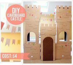 Budget tip: maak dit prachtige kasteel van kartonnen dozen en restmateriaal aan verf, gekleurd papier en een zakje tieraps van een paar euro.