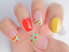 Circus Colors Dotted French Nails Nail Art | chichicho~ nail art addicts