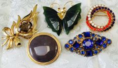 Lot Of 5 Vintage Pins Brooches Jade Butterfly Rhinestone D & E for Kramer Brooks