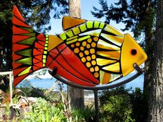 Fused glass and steel stand, garden art.