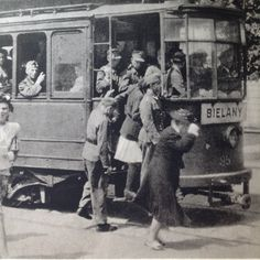 """Warsaw, line nr17 to Bielany. Summer 1944 before the Uprising. Front of the car """"Nur fur Deutsche""""  From Dni Powstania"""