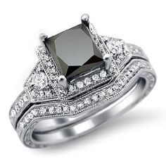 1.97ct Black Princess Cut Diamond Engagement Ring Bridal Set 14k White Gold