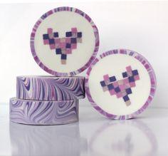 """rimmed soap """"pixel hearts"""""""