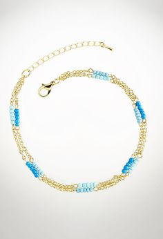 Beaded Chain Ankle Bracelet-Plus Size Ankle Bracelet-Avenue