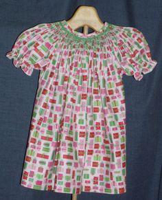 A fun and colorful Christmas bishop dress.