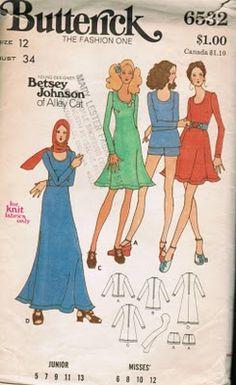 Betsey Johnson for AlleyCat, Butterick pattern, 1971