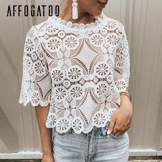 Simplee Elegant lace mesh embroidery women blouse shirt Sexy hollow out ruffled female top shirt Short sleeve summer party tops Simplee Elegant lace mesh embroidery women blouse Sexy hollow out Short Women's Clothing Stylish Shirts, Sexy Shirts, Women's Dresses, Lace Outfit, Lace Dress, Party Tops, Look Chic, Blouse Designs, Lace Shorts