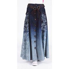 Damen Bohemia Vintage Casual Button Jeans Langer Rock (Gürtel Random) - My CMS Cute Fashion, Denim Fashion, Modest Fashion, Hijab Fashion, Fashion Outfits, Moda Jeans, Denim Ideas, Skirt Belt, Jean Skirt