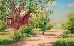 choza, paisaje, pintura, casa, verano, johan krouthen, pueblo 2560 1600