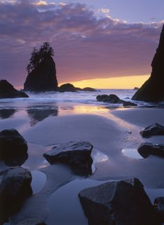La Push's Second Beach in Washington State has amazing sunset views.
