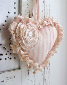 Tattered Fabric Heart Shabby Pink Ticking Heart Ornament