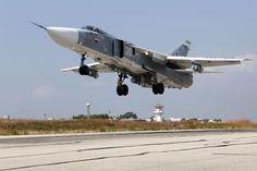 Russia's Sukhoi Su-24 attack aircraft at the Hmeymim airbase. Source: TASS #su24 #syria