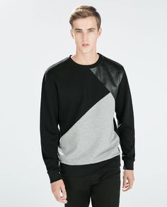 SWEATSHIRT WITH FAUX LEATHER
