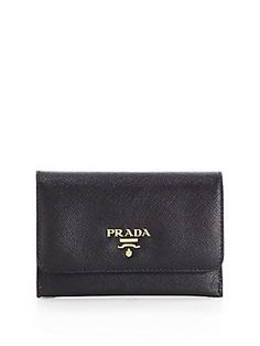 Prada Saffiano Credit Card Case in blue or orange