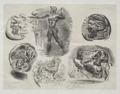 Cleveland Museum of Art Sheet with Six Antique Medals, 1825 Eugène Delacroix (French, 1798-1863) lithograph with beige tint stone, Sheet - h:27.50 w:36.00 cm (h:10 13/16 w:14 1/8 inches) Image - h:20.00 w:25.80 cm (h:7 13/16 w:10 1/8 inches). Mr. and Mrs. Charles G. Prasse Collection 1956.689