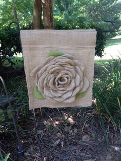A personal favorite from my Etsy shop https://www.etsy.com/listing/385004796/burlap-flower-garden-flag