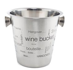 Dozenegg 4 Quart Wine/ice/champagne Bucket: This large champagne or wine bucket is a fine way to keep white wine or champagne cold for hours. With its durability and timeless style, this champagne bucket is ideal for restaurants or in your home. Hangover, Wine Bucket, Wine Chillers, Champagne Buckets, Wine Time, White Wine, Make It Simple, Barware, How To Find Out