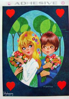 Vintage Big Eyed Couple Adheseive Postcard | por Sillyshopping