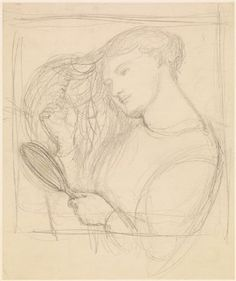 Lady Lilith - Figure Study - Dante Gabriel Rossetti (1868).  A sketch for the painting 'Lady Lilith' drawn from model Fanny Cornforth, taken from one of the artist's notebooks. Rossetti repainted 'Lady Lilith' at Kelmscott 1872-3 with the face of Alexa Wilding. This design is closer to the final painting than the other sketch in Birmingham's collection as the figure has her hair down and is holding a mirror.